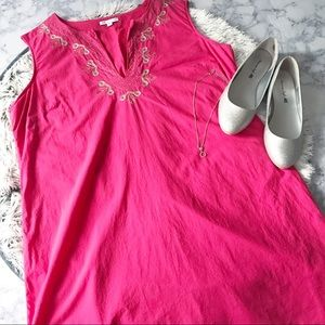 Gap Hot Pink Embroidered Cotton Shift Dress